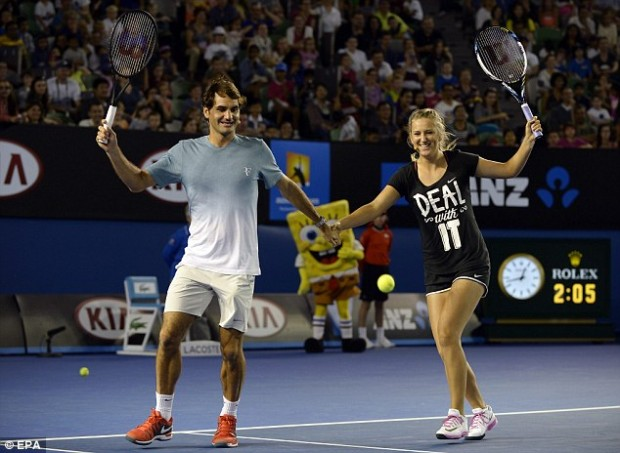 Azarenka with Roger Federer