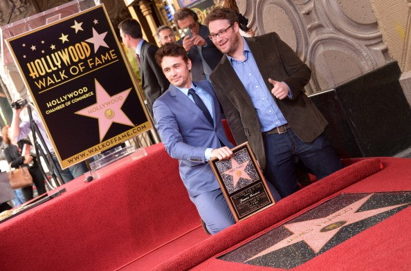 Seth Rogen with James Franco at Hollywood Walk of Fame
