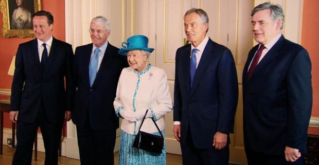 John Major with The Queen,David Cameron,Tony Blair and Gordon Brown