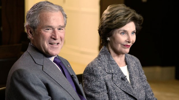 George W. Bush And Former First lady Laura Bush Speak To ABC