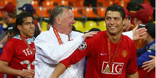 Alex Ferguson and Cristiano Ronaldo after They won the Champions League Final
