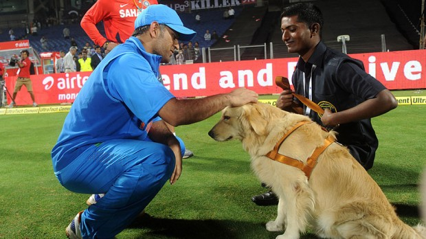 MS Dhoni with The Security Dog at India v England Match in Pune
