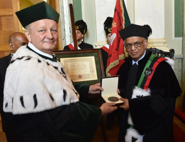 Infosys Founder Receiving Honorary Doctorate From AGH University of Science and Technology in Krakow