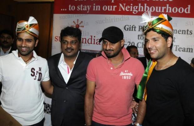 Rohit Sharma With Yuvraj Singh and Harbhajan Singh