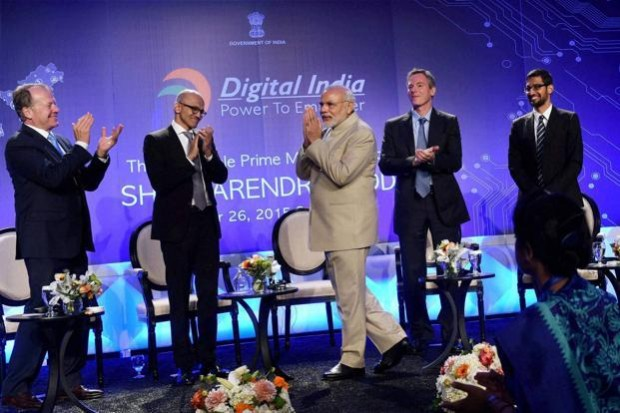 Satya Nadella with Indian Prime Minister Narendra Modi, Google CEO Sundar Pichai and Others at Digital India Summit