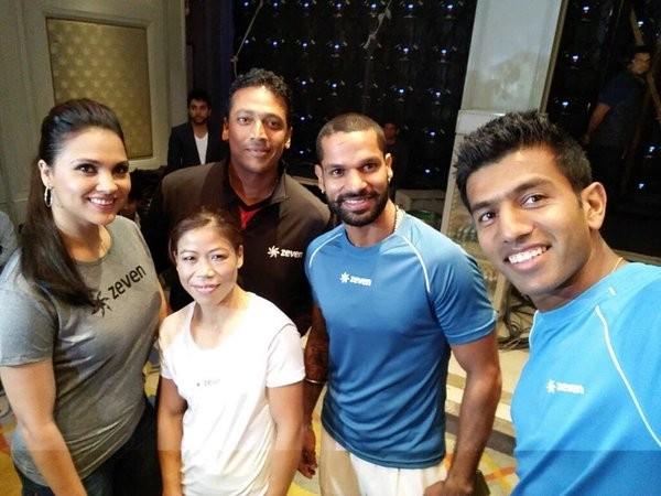 Shikhar Dhawan At the zevenWorld launch with Maheshbhupathi, LaraDutta, rohanbopanna and MC Mary Kom
