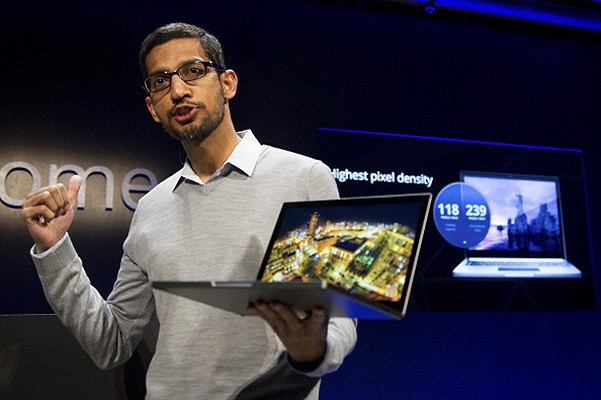 Mr. Pichai held a Chromebook Pixel during an Event
