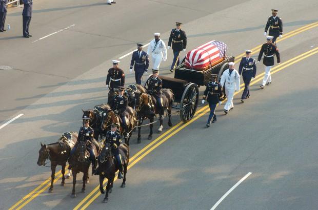 President Reagans Deadbody Inside casket