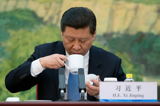 Xi Jinping drinks from a cup as he attends a meeting with Foreign experts'