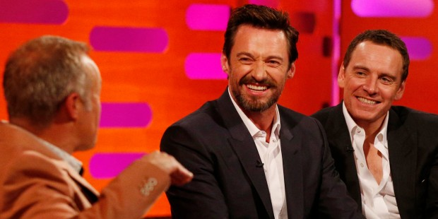 Hugh Jackman with Michael Fassbender on Graham Norton Show