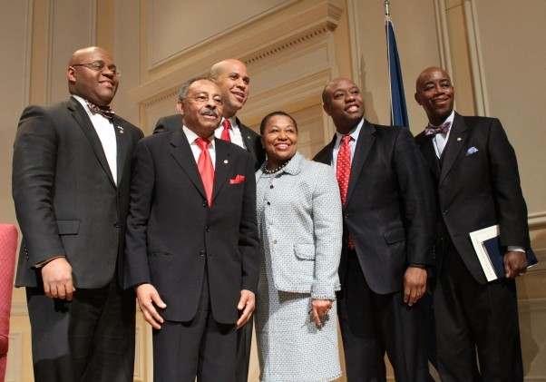 Former Carol Moseley Braun, Mo Cowan and Roland Burris, joined Sen. Scott and newest Senator With Cory Booker