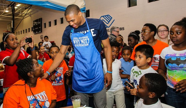 Russell Westbrook at his Why Not ? foundation for children