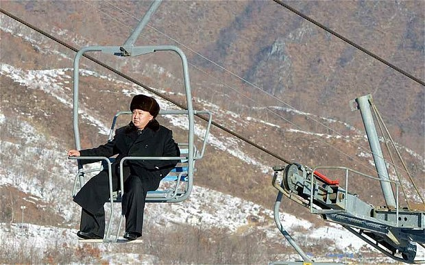 Kim Jong-un on a Ski lift
