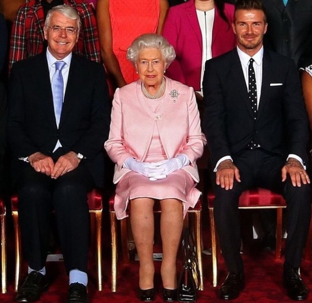 John Major with The Queen and David Beckham