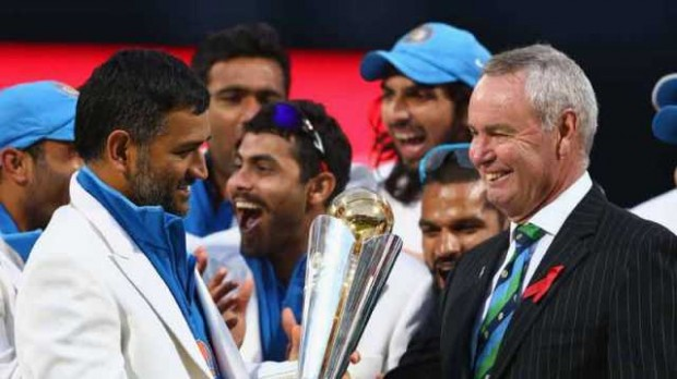 Mahi Taking Champions Trophy in England