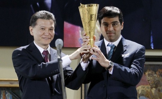 Receiving Trophy From World Chess Federation (FIDE)