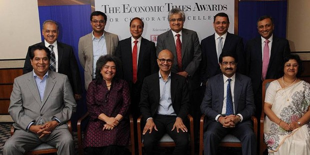 Dilip Shanghvi with Sachin Bansal and other ET Award Winners