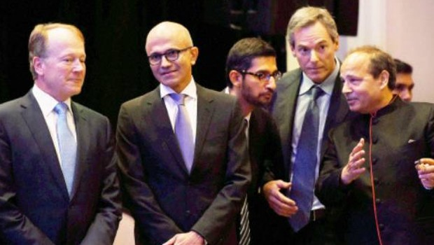 Satya Nadella with Executive Chairman of Cisco, John T Chambers and Others