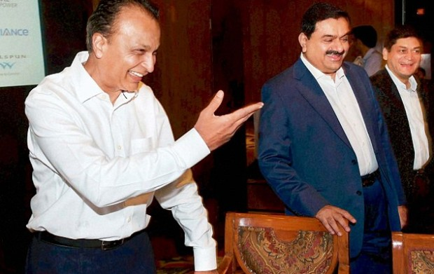 Anil Ambani and Gautam Adani at a meeting