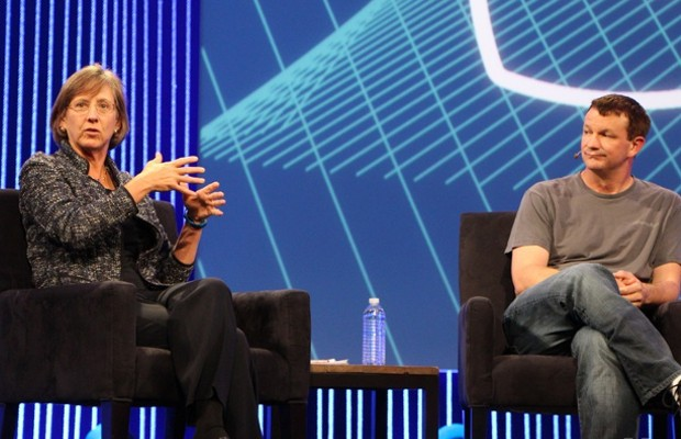 Mary Meeker with WhatsApp cofounder Brian Acton at F8 in San Francisco