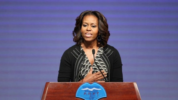 Michelle Obama Giving Speech at Topeka High School