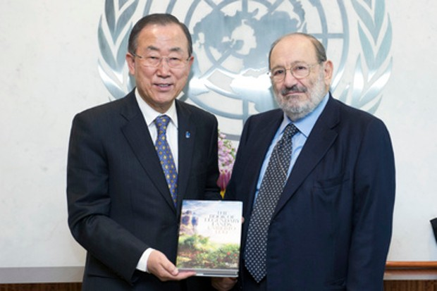 Umberto Eco At United Nations With Secretary-General