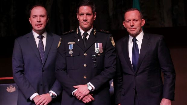 Peter Dutton With Australian Border Force commissioner Roman Quaedvlieg and Tony Abbott