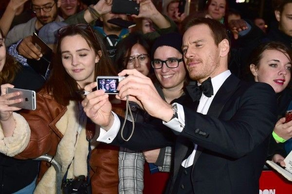 Michael Fassbender meets fans at the premiere of Steve Jobs