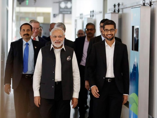 Sundar Pichai Welcoming Narendra Modi at Google
