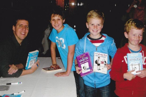 Jeff Kinney with kids in Australia
