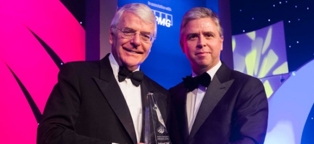 Sir John Major Receiving His Award for Outstanding Contribution to Ireland