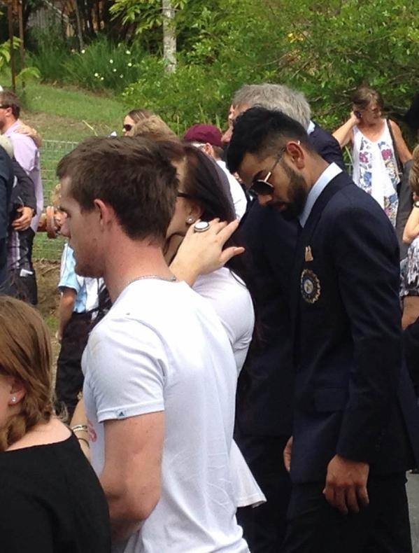 Kohli at Australia Cricketer Phil Hughes Funeral