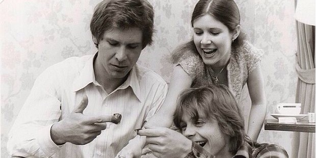 Harrison Ford Eating Chocolates with Co-Stars on Star Wars Set