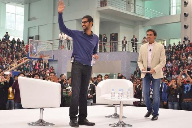 Sundar Pichai with Cricket Commentator Harsha Bhogle
