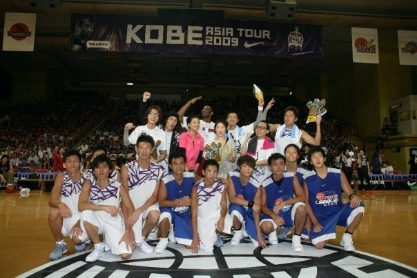 Kobe With Young Basketball Players in Hong Kong