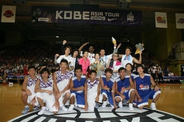 Kobe With Young Basketball Players in Hong Kong