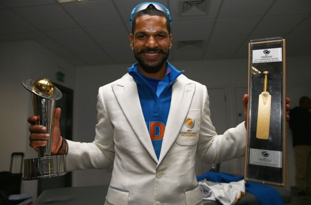Shikhar with his player of the tournament and golden bat