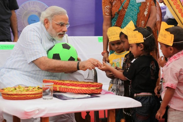 Modi With Children During a Campaign in 2011