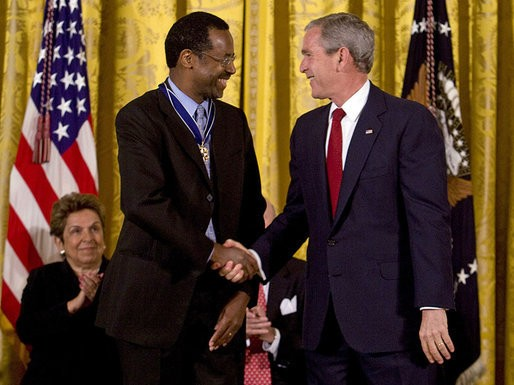 Ben Carson with George W. Bush at Presidential Medal Cermony