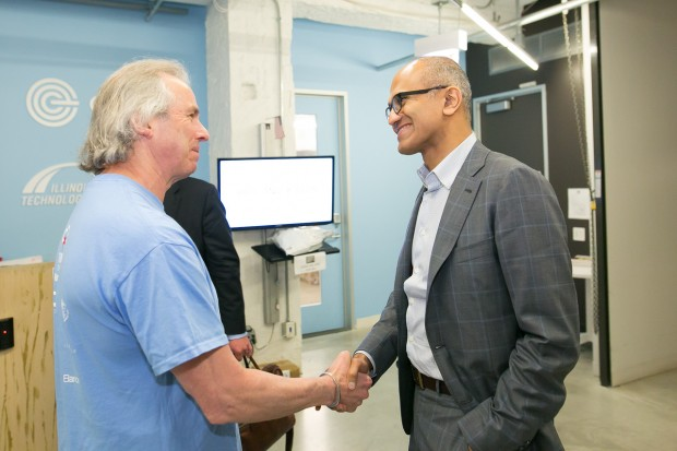Satya Nadella with 1871 CEO, Howard Tullman