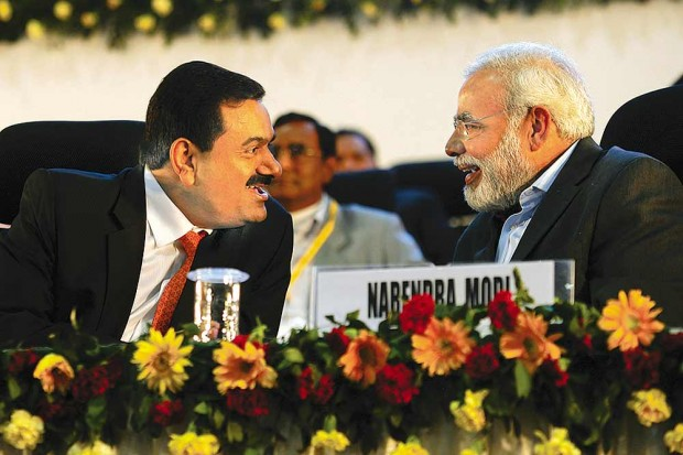 Adani with Narendra Modi at Gujarat Vibrant Summit
