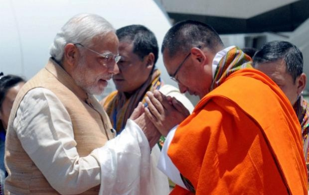 Modi and Prime Minister of Bhutan Greeting Each Other During Modi's Visit to Bhutan