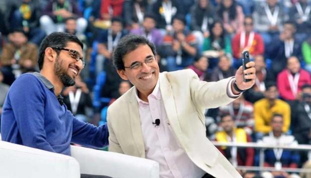 Harsha Bhogle Taking a Selfie with Sundar Pichai