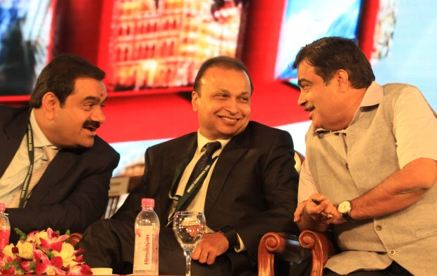 Gautam Adani with Anil Ambani and Nitin Gadkari