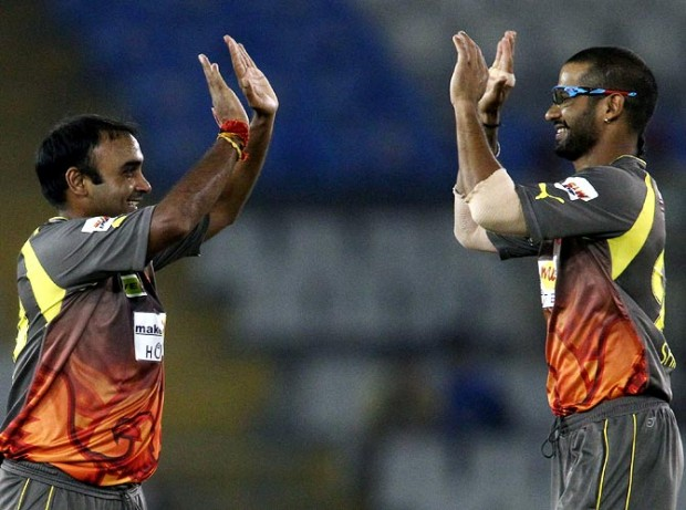 Shikhar Dhawan with Amith Mishra During IPL Match