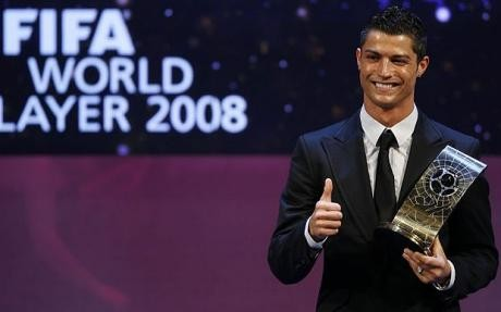 Cristiano Ronaldo with His Fifa World Player of the Year Award