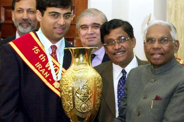 Vishy Anand Meeting With Indian President K.R. Narayanan