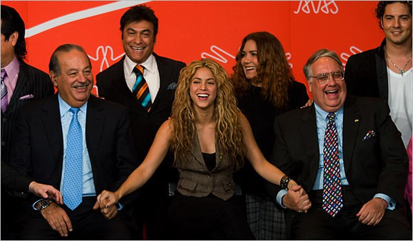 Carlos slim Helu with Shakira