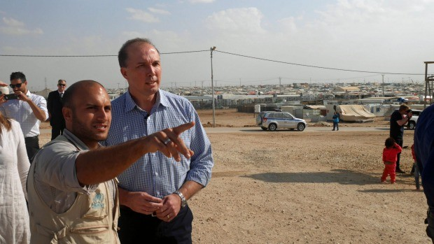 Peter Dutton at Zaatari refugee camp in Jordan