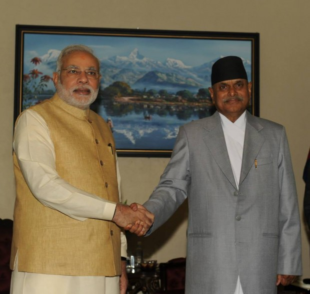 Modi with Nepal's President Shri Ram Baran Yadav